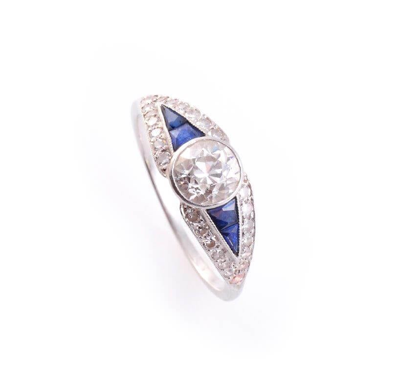 Art Deco Sapphire and Diamond Ring circa