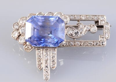 1920's Sapphire, Diamond and Platinum Brooch.  £2,000