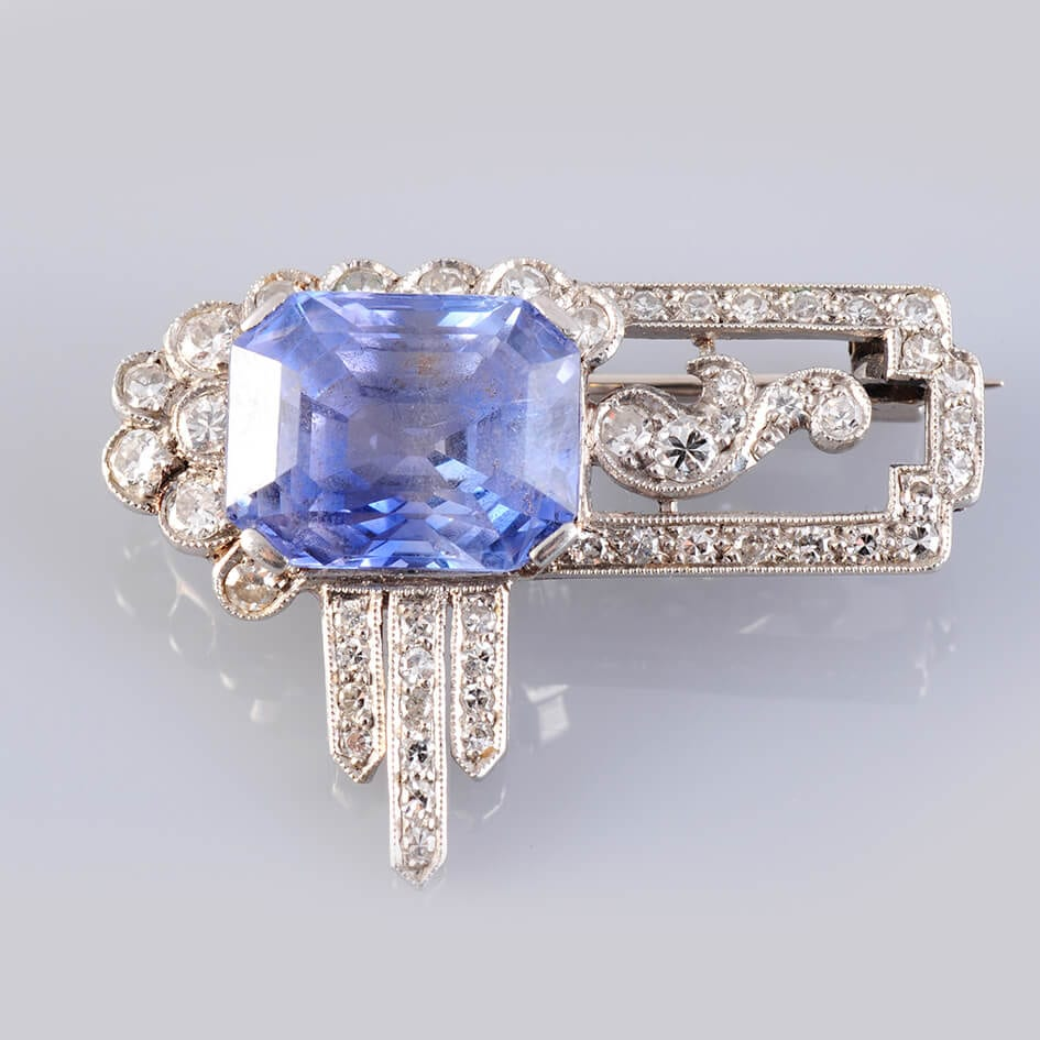 1920's Sapphire, Diamond and Platinum Brooch.