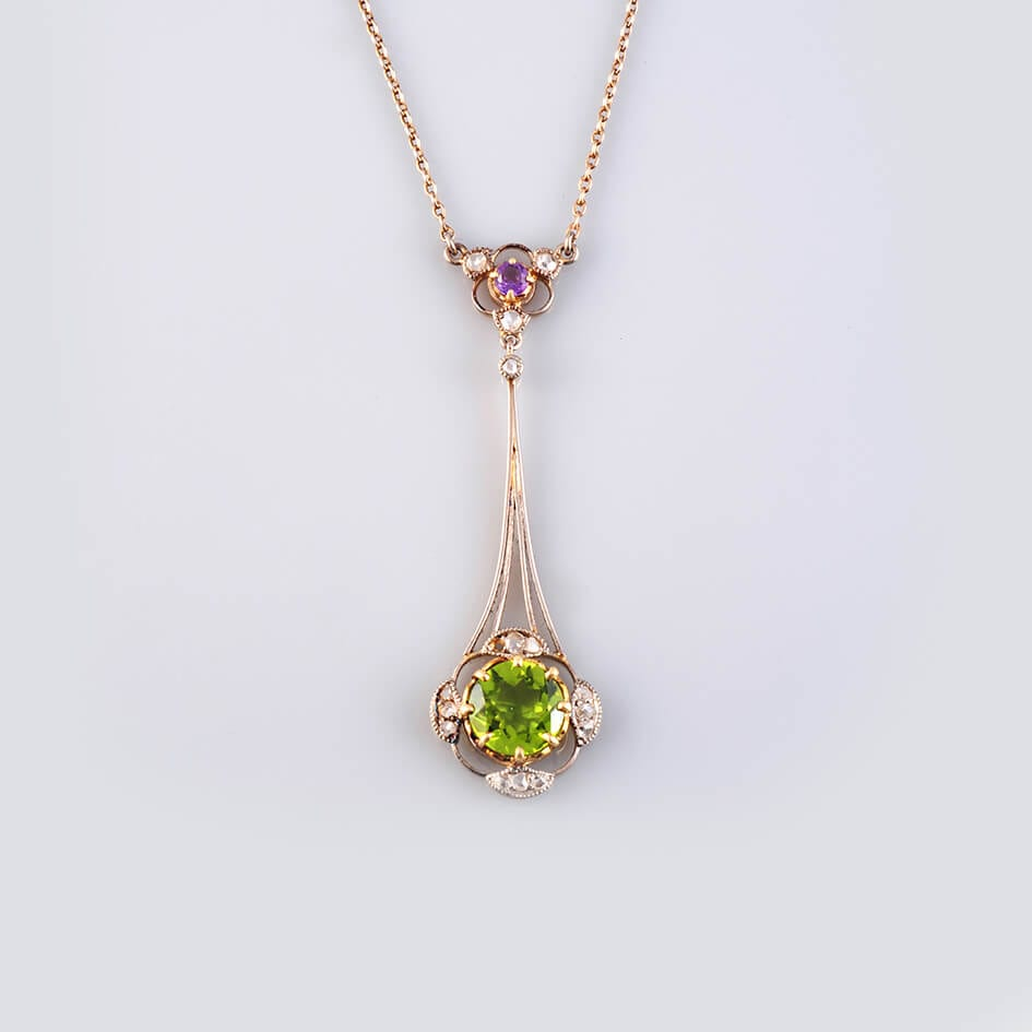 1920's Pendant Necklace, 18ct Gold & Amethyst