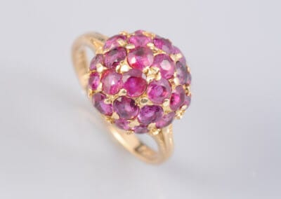 A Ruby Cocktail Ring, circa 1960, set in 9 carat yellow gold.  £275.