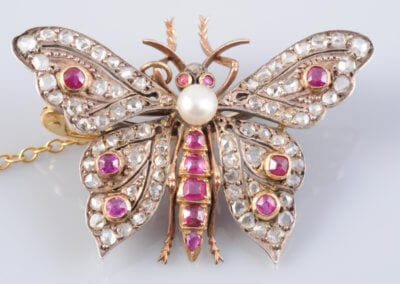 A Victorian Ruby, Diamond and Pearl Butterfly Brooch, circa 1870. £2,800.
