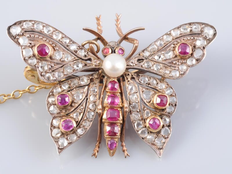 Victorian Ruby Diamond and Pearl Butterfly Brooch circa