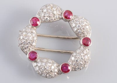 A Ruby and Diamond Brooch circa 1930.  £2,400.