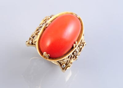 A Gold and Coral Ring circa 1900. £1,250.