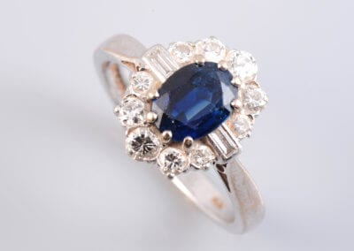 A Sapphire and Diamond Ring.  £750.