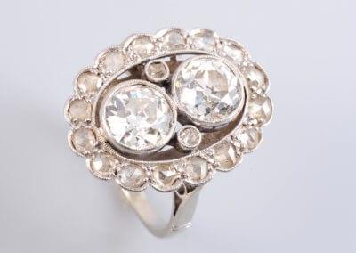 A Diamond Ring, circa 1900, set with two old brilliant-cut diamonds. £POA.