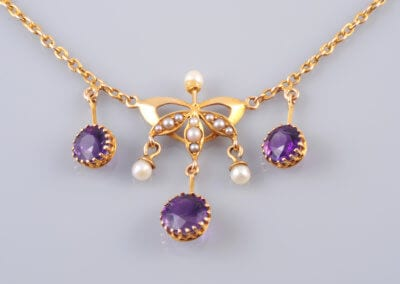 Art Nouveau Amethyst and Seed Pearl Pendant. £700.