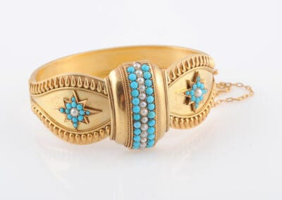 A Victorian Gold and Turquoise Bangle, circa 1860-70. £1,400