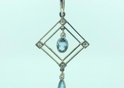 An Aquamarine and Diamond Pendant circa 1910 - £1,550