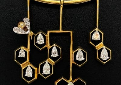 Diamond and 18 carat Gold Bee and Honeycomb Necklace £5,400