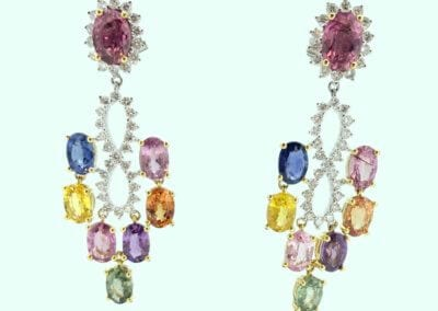 A Pair of Multi Coloured Sapphire and Diamond Earrings - POA