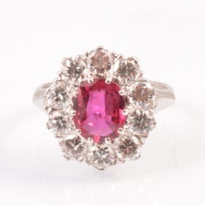 SRMA90096 A A Ruby and Diamond Cluster set in 18ct White Gold
