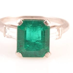 A An Emerald and Diamond Ring